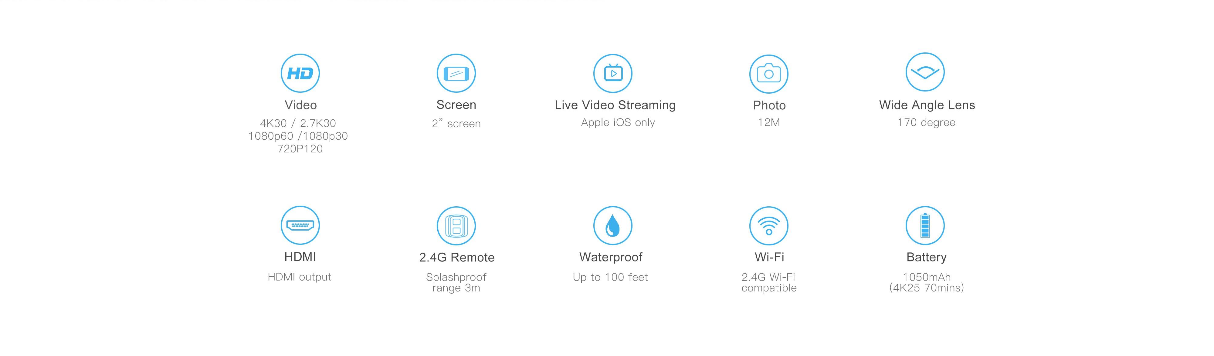 EKEN H9 Action Camera wifi Ultra HD Mini Cam 4K/30FPS 1080p/60fps  720P/120FPS underwater Waterproof Video Sports Camera (WHITE)