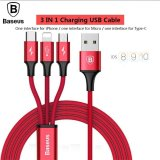 Baseus 3 in 1 USB Cable For iPhone Samsung Xiaomi LG Multi Fast Charger For Apple/Micro/Type -C Red