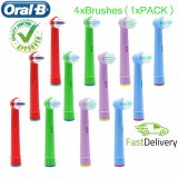 Oral-B Replacement Kids Toothbrush Heads x 4 for oral B D4510 D12013 D12013W D12523 D17525 D18 D19523 D19545 D20523 D20545 OC18 OC20 D8011 D9525 D9511 D25 D30 D32  D12, D8, D4X, D4, D17, D8011