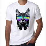 T-shirt 2017 DJ cat top quality printed men tops Large