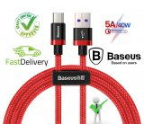Baseus 5A USB Type C Cable For Huawei Mate 20 P30 P20 Pro Lite Samsung HTC MEIZU OPPO Xiaomi HonorMobile Phone(RED) 2M