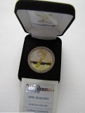 NZ 2000 MILLENIUM $10 PROOF COIN -SILVER WITH GOLD PLATE Over Seas Case