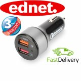 Ednet USB Dual Type A + Type-C Car Charger 3 Amp 36 Month Warranty