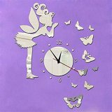 3D Quartz Wall clock DIY Fairy Butterfly Silver