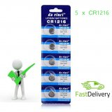 5 x CR1216 Button Batteries 1216, DL1216, BR1216, ECR1216, 5034LC, LM1216 Cell Coin Lithium Battery