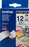 Brother TZEFA3 Iron on Blue on White Fabric Tape