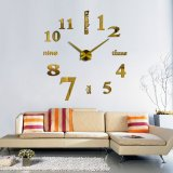 3D Quartz Wall clock DIY Gold 37""