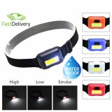 Headlight Outdoor Waterproof COB LED Headlamp 3 Modes Helmet Light Lamp Torch for Running Camping Hiking Fishing(BLACK)