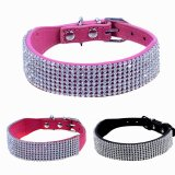 Adjustable Bling Diamante Crystal Pet Puppy Dog Kitten Collar PU Leather Pink Medium