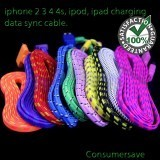 5 x Cable Braided USB For iPhone 3 4 4s ipod ipad ios 7/8/9