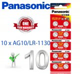 PANASONIC 10 Pcs AG10 389 SR1130 189 LR54 G10A 390A KA54 Alkaline Battery Genuine
