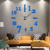 3D Quartz Wall clock DIY Blue 47""