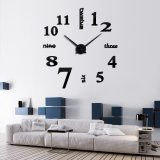 3D Quartz Wall clock DIY Black