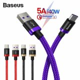 Baseus 5A USB Type C Cable For Huawei Mate 20 P30 P20 Pro Lite Samsung HTC MEIZU OPPO Xiaomi HonorMobile Phone(PURPLE) 2M