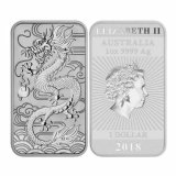 1 oz Silver Coin - 99.99% Minted Silver Dragon Bar - Perth Mint