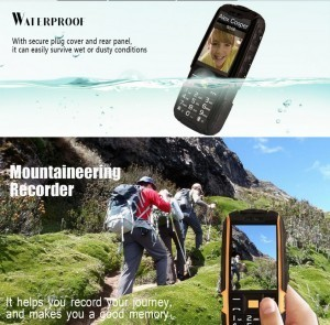 NO.1 A9 GSM Phone – 4800mAh Battery, 2.4 Inch 240x320 Screen, Dual SIM, IP67 Waterproof Rating, FM Radio, Flashlight (Black)