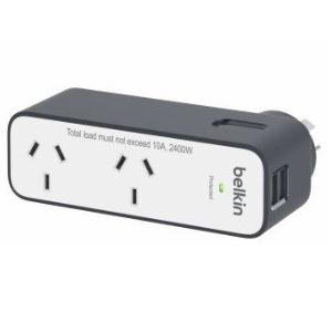 Belkin Travel Surge 2-Outlets Surge Suppressor/Protector - 2 x AC Power, 2 x USB - 306 J - 5 V DC Output