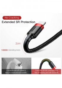 Baseus USB Kevlar Cable For iPhone XS Max XR X 8 7 6 6s Plus 5 5S SE iPad Pro Mini Fast Charger Data Cord 2M(RED & BLACK)
