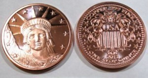 1 Ounce Copper Round .999 fine copper - 2011 Statue of Liberty