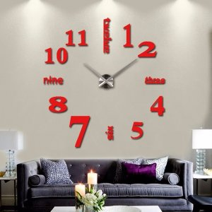 3D Quartz Wall clock DIY Red 37""