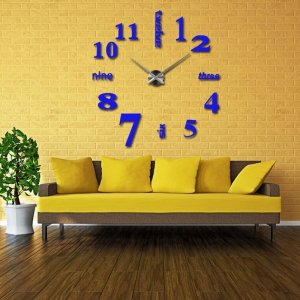 3D Quartz Wall clock DIY Dark Blue 37""