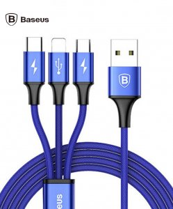 Baseus 3 in 1 USB Cable For iPhone Samsung Xiaomi LG Multi Fast Charger For Apple/Micro/Type -C Blue