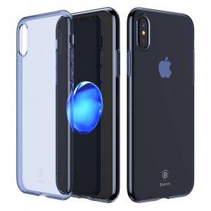 Baseus Dirt-resistant Case For iPhone X 10 Ultra Thin Clear Soft Silicone Cover w/Pluggy (BLUE)