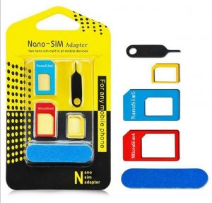 5 in 1 Nano Sim Card Adapters Micro Sim Card Standard SIM Card Adapter Retail Box